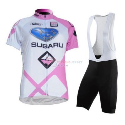 Women Cycling Jersey Kit Subaru Short Sleeve 2011 White And Pink 0964de34c