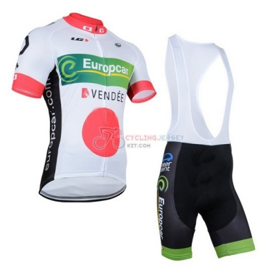 Europcar Cycling Jersey Kit Short Sleeve 2014 White And Red