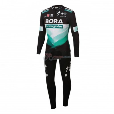 Bora-hansgrone Cycling Jersey Kit Long Sleeve 2020 Black Green(1)