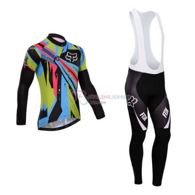 Fox Cycling Jersey Kit Long Sleeve 2014 Sky Blue And Black