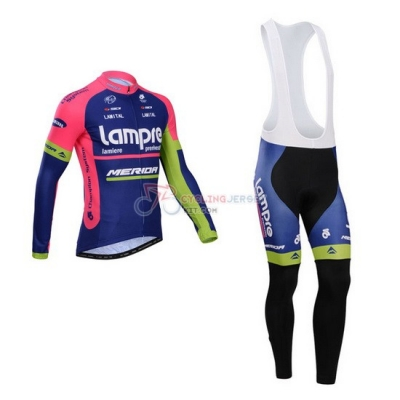 Lampre Cycling Jersey Kit Long Sleeve 2014 Pink And Blue