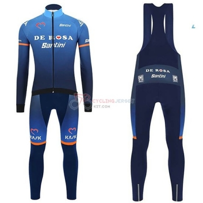 2019 Casteli De Long Sleeve Cycling Jersey and Bib Pant Kit Pink Bluee