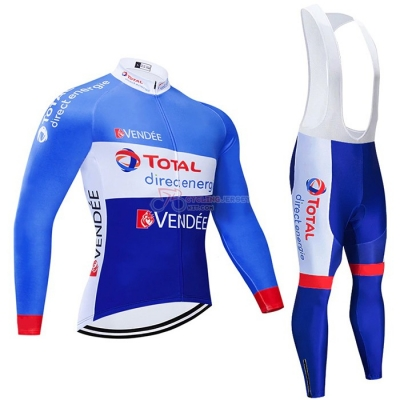 Direct Energie Cycling Jersey Kit Long Sleeve 2021 Blue White