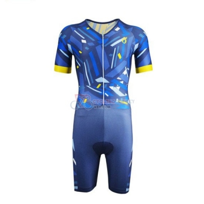 Emonder-triathlon Cycling Jersey Kit Short Sleeve 2019 Blue Yellow
