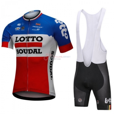 Lotto Soudal Cycling Jersey Kit Short Sleeve 2018 Blue and Red