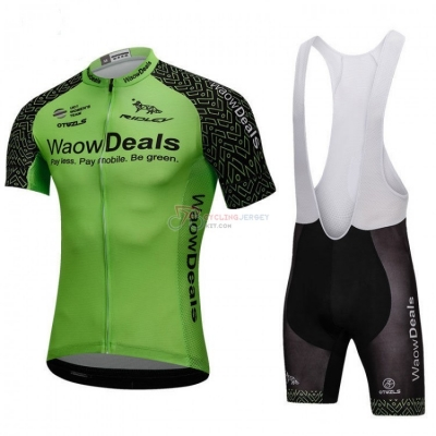 Waowdeals Cycling Jersey Kit Short Sleeve 2018 Green and Black