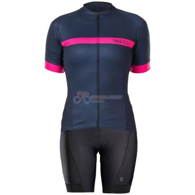 Women Bontrage Cycling Jersey Kit Short Sleeve 2020 Fuchsia Dark Blue