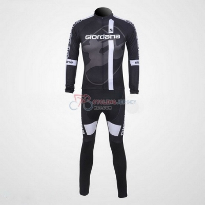 Giordana Cycling Jersey Kit Long Sleeve 2011 Gray And Black