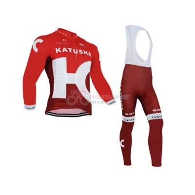 Katusha Cycling Jersey Kit Long Sleeve 2016 White And Red