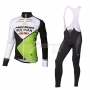 2014 Team Multivan Merida Manica green white Long Sleeve Cycling Jersey And Bib Pants Kit