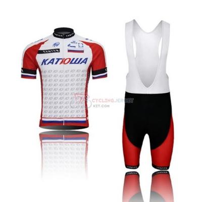 Katusha Cycling Jersey Kit Short Sleeve 2015 Red And White