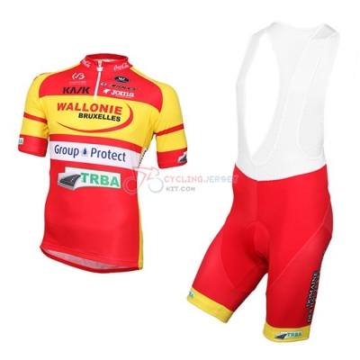 2016 Team Wallonie Bruxelles yellow red Short Sleeve Cycling Jersey And Bib Shorts Kit