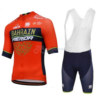 2018 Bahrain Merida Cycling Jersey Kit Short Sleeve red