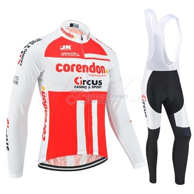 Corendon Circus Cycling Jersey Kit Long Sleeve 2019 White Red