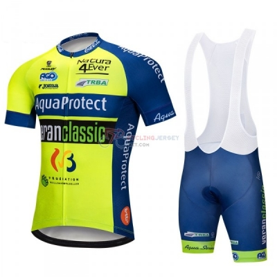 Aquaproject Cycling Jersey Kit Short Sleeve 2018 Green Yellow