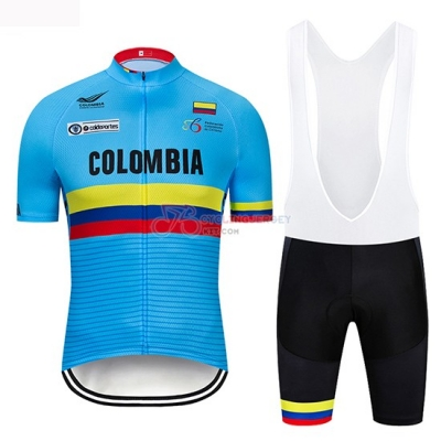 Colombia Cycling Jersey Kit Short Sleeve 2019 Blue