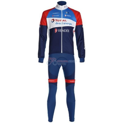 Direct Energie Cycling Jersey Kit Long Sleeve 2020 Deep Blue Red