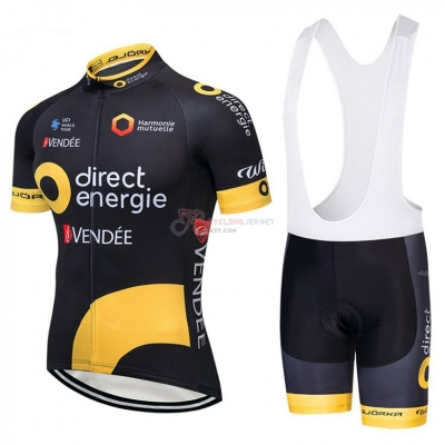 Direct Energie Cycling Jersey Kit Short Sleeve 2018 Black and Yellow