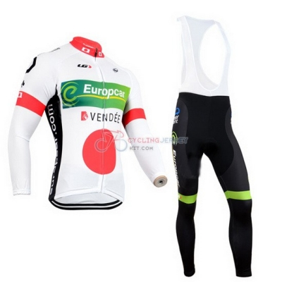 Europcar Cycling Jersey Kit Long Sleeve 2014 White And Red