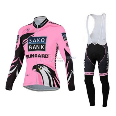 Women Cycling Jersey Kit Saxo Bank Long Sleeve 2015 Pink And Black