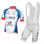 2015 Team MLP Team Bergstrasse white blue Short Sleeve Cycling Jersey And Bib Shorts Kit