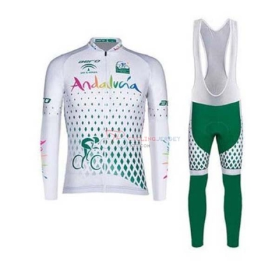 Andalucia Cycling Jersey Kit Long Sleeve 2020 White Green