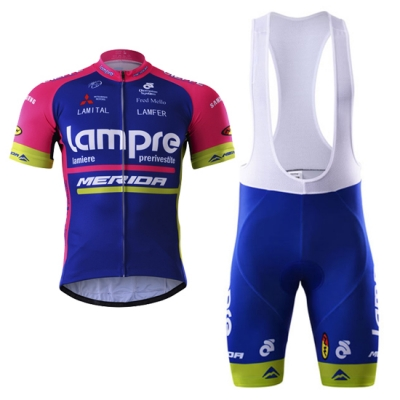 Lampre Merida Cycling Jersey Kit Short Sleeve 2017 blue
