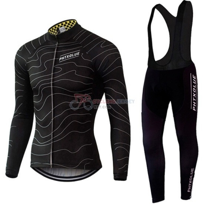 Phtxolue Cycling Jersey Kit Long Sleeve 2019 Black