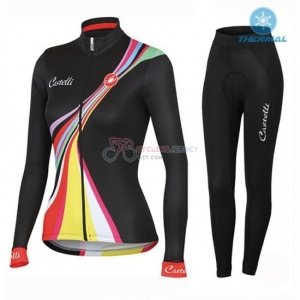 Women Castelli Cycling Jersey Kit Long Sleeve 2016 Black And Red ... 330eef30b