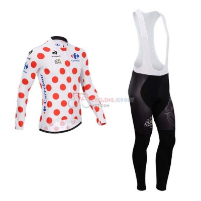 Tour De France Cycling Jersey Kit Long Sleeve 2014 White And Red