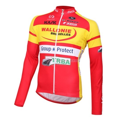 2016 Team Wallonie Bruxelles Manica yellow red Long Sleeve Cycling Jersey And Bib Pants Kit