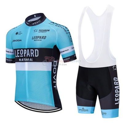 Leopard Cycling Jersey Kit Short Sleeve 2020 Natural Blue Black