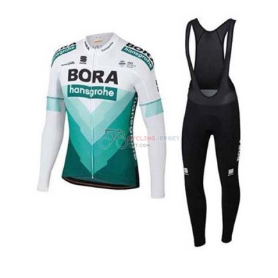 Bora-hansgrone Cycling Jersey Kit Long Sleeve 2020 Green White