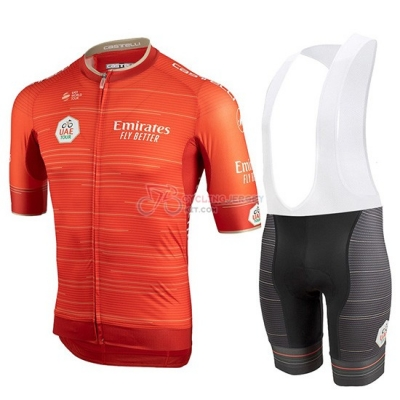 Castelli UAE Tour Cycling Jersey Kit Short Sleeve 2019 Orange