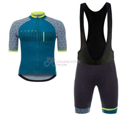 Granada Vuelta Espana Short Sleeve Cycling Jersey and Bib Shorts Kit 2017 blue