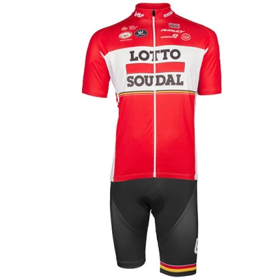Lotto Soudal Cycling Jersey Kit Short Sleeve 2017 red