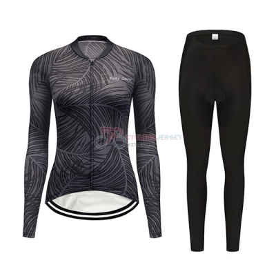 Women Delle Cycling Jersey Kit Long Sleeve 2019 Gray