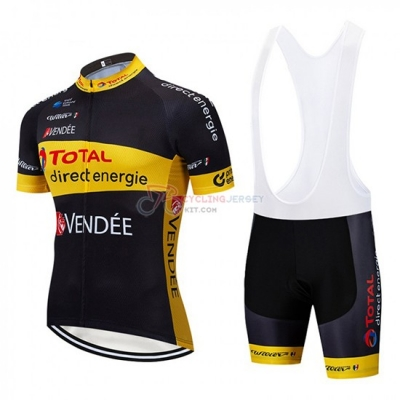 Direct Energie Cycling Jersey Kit Short Sleeve 2019 Black Yellow