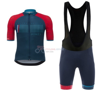 Nimes Vuelta Espana Short Sleeve Cycling Jersey and Bib Shorts Kit 2017 blue and red