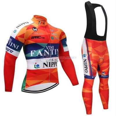 Vini Fantini Cycling Jersey Kit Long Sleeve 2019 Orange