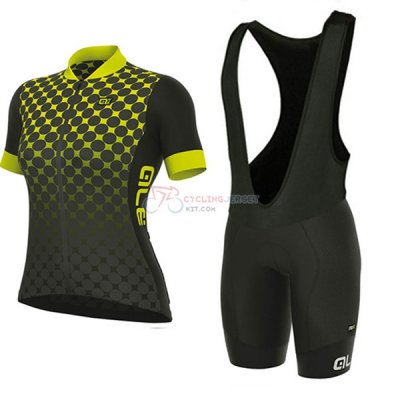 Women ALE Excel Bolas Short Sleeve Cycling Jersey and Bib Shorts Kit 2017 black and yellow