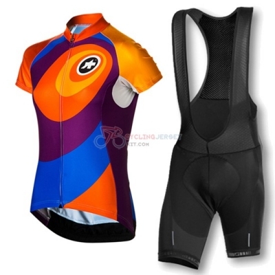 Women Assos Cycling Jersey Kit Short Sleeve 2016 Orange And Blue