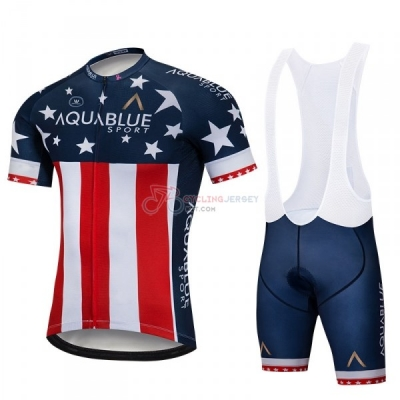 Aqua Blue Sport Campione USA Cycling Jersey Kit Short Sleeve 2018 Blue