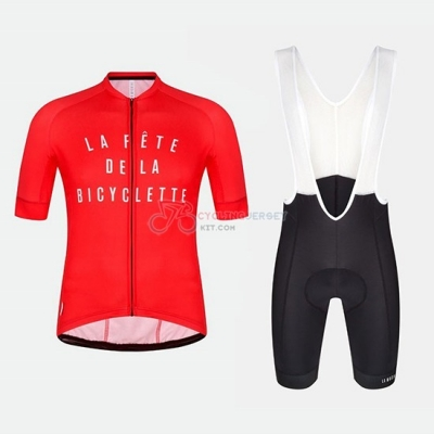 La Fete De La Bicyclette Cycling Jersey Kit Short Sleeve 2018 Red