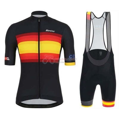 Spain Cycling Jersey Kit Short Sleeve 2019 Black Red Yellow
