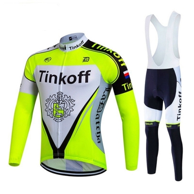 Tinkoff Cycling Jersey Kit Long Sleeve 2017 light green