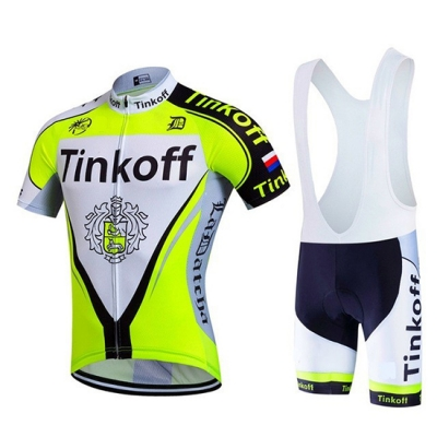 Tinkoff Cycling Jersey Kit Short Sleeve 2017 light green