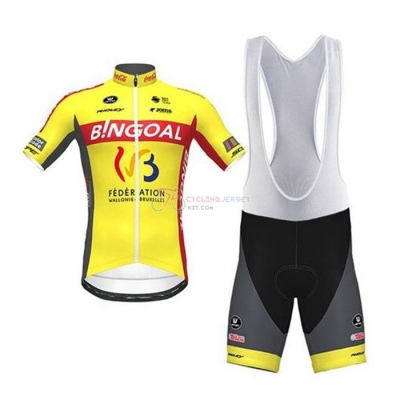 Wallonie Bruxelles Cycling Jersey Kit Short Sleeve 2020 Yellow Red