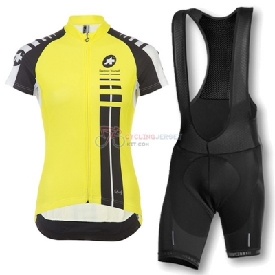 Women Assos Cycling Jersey Kit Short Sleeve 2016 Black And Yellow