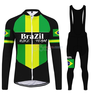 Brazil Cycling Jersey Kit Long Sleeve 2020 Black Green